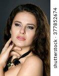 portrait of young sexy brunette.... | Shutterstock . vector #377852674