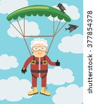 grandma jumping with a parachute | Shutterstock .eps vector #377854378