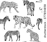 wild animals black and white... | Shutterstock .eps vector #377854858