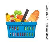 shopping basket full of fresh... | Shutterstock .eps vector #377857894