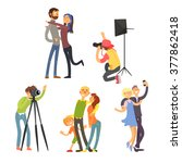 family photo in studio. vector... | Shutterstock .eps vector #377862418