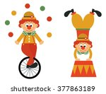 clown on a bike and funny clown   Shutterstock .eps vector #377863189