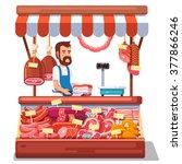 local market farmer selling... | Shutterstock .eps vector #377866246