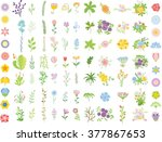 set of floral wedding graphic... | Shutterstock .eps vector #377867653