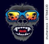 gorilla monkey tropical... | Shutterstock .eps vector #377868130