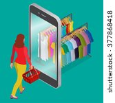 online shopping and consumerism ... | Shutterstock .eps vector #377868418