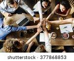 team unity friends meeting... | Shutterstock . vector #377868853
