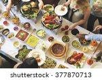 buffet dinner restaurant... | Shutterstock . vector #377870713