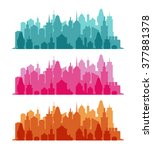 set of cityscape colorful... | Shutterstock .eps vector #377881378
