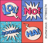 set of comic speech bubbles in... | Shutterstock .eps vector #377883274
