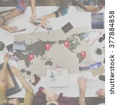 business travel meeting... | Shutterstock . vector #377884858