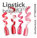 Set of wet lipsticks and lipstick smears isolated on white background. Beauty and cosmetics background. Use for advertising flyer, banner, leaflet.Template Vector.