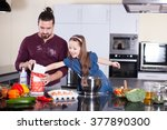 dad and daughter preparing | Shutterstock . vector #377890300