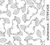 doodle pear with leaf seamless... | Shutterstock . vector #377891428