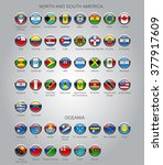 set of round glossy flags of... | Shutterstock . vector #377917609