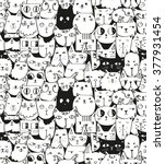 hand drawn cats seamless vector ... | Shutterstock .eps vector #377931454