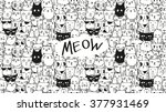 doodle hand drawn cats seamless ... | Shutterstock .eps vector #377931469