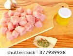 pile of raw beef chunks on the... | Shutterstock . vector #377939938
