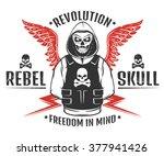 set of rebel skull and... | Shutterstock .eps vector #377941426