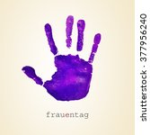 a violet handprint and the text ... | Shutterstock . vector #377956240