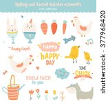 happy easter vector set in... | Shutterstock .eps vector #377968420