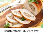 stuffed turkey breast with... | Shutterstock . vector #377975599
