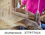 Silk Weaving On Loom.