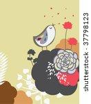Little Bird And Floral Wallpaper
