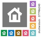 home flat icon set on color...