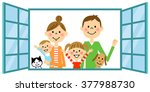 family greeting from window | Shutterstock . vector #377988730