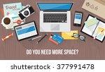 messy cluttered office desk ... | Shutterstock .eps vector #377991478
