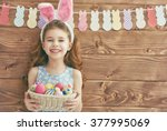cute little child girl wearing... | Shutterstock . vector #377995069