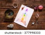 chakras illustrated over human... | Shutterstock . vector #377998333