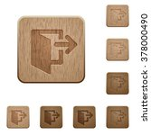 set of carved wooden exit...