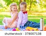 happy children in a beautiful... | Shutterstock . vector #378007138