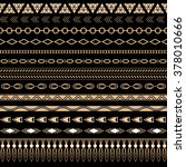 set of seamless gold tribal... | Shutterstock .eps vector #378010666
