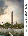 tall tv tower in cairo near nile | Shutterstock . vector #378011434