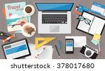 messy cluttered office desk ... | Shutterstock .eps vector #378017680