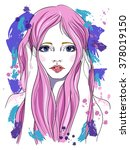 portrait of a girl with pink... | Shutterstock .eps vector #378019150