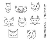 set of cat muzzle. linear pets... | Shutterstock .eps vector #378024529
