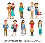 street style people and couples ... | Shutterstock .eps vector #378026440