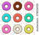sweet donuts set with icing and ... | Shutterstock .eps vector #378026920