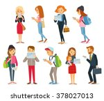 street style people with gadgets | Shutterstock .eps vector #378027013