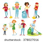 vector set of people cleaning ... | Shutterstock .eps vector #378027016