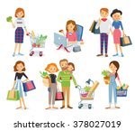 set collection of shopping... | Shutterstock .eps vector #378027019
