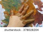 creative paint art little hand...   Shutterstock . vector #378028204