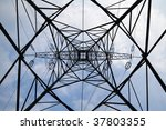 electricity pylon and blue sky... | Shutterstock . vector #37803355