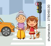girl helping old woman cross... | Shutterstock .eps vector #378048130