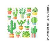 succulents and cacti flat style ... | Shutterstock .eps vector #378048853