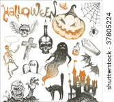 Halloween And Horror Hand Draw...